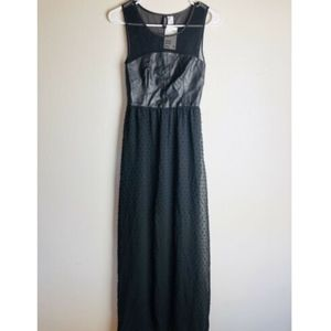 Divided H&M Black Faux Leather Maxi Sheer Dress